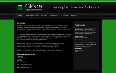 Screenshot of Home Page giode.com - Supply Chain Management, Inventory Management, Stock Control, Inventory Planning, Control and Optimisation - Giode - captured Oct. 2, 2014