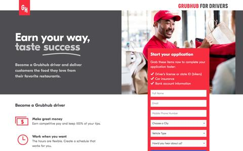 Screenshot of grubhub.com - Get Paid to Drive Your Car as a Grubhub Delivery Partner - captured March 2, 2017