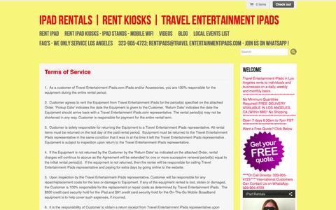 Screenshot of Terms Page travelentertainmentipads.com - Terms of Service | iPad Rentals | Rent Kiosks | Travel Entertainment iPads - captured Oct. 7, 2014