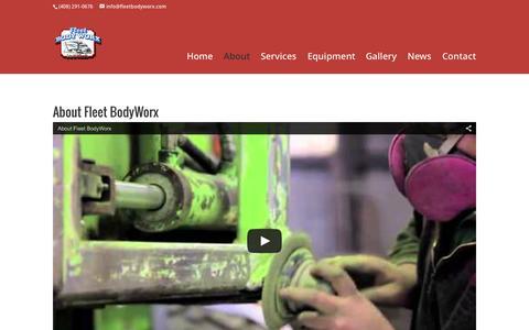 Screenshot of About Page fleetbodyworx.com - About - Fleet BodyWorx - The South Bay's Premiere Body & Paint Shop - captured Aug. 3, 2015