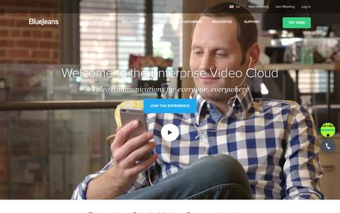 Screenshot of Home Page bluejeans.com - Business Video Communications | BlueJeans - captured April 9, 2016