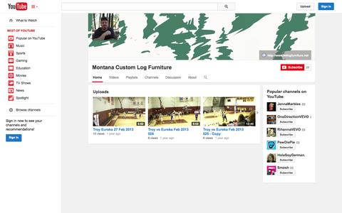 Screenshot of YouTube Page youtube.com - Montana Custom Log Furniture  - YouTube - captured Oct. 26, 2014