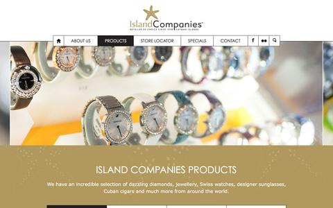 Screenshot of Products Page islandcompaniesltd.com - Products Island Companies, Watches, Jewellery, Cigars - captured Jan. 9, 2016
