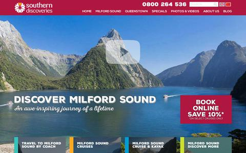 Screenshot of Home Page southerndiscoveries.co.nz - Milford Sound and Queenstown Cruises   Southern Discoveries - captured Nov. 7, 2018