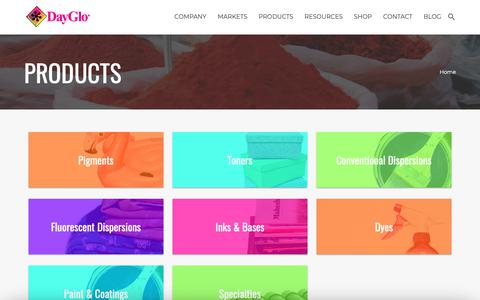 Screenshot of Products Page dayglo.com - DayGlo Color Corp | Fluorescent Pigments, Paints, and Printing Inks - captured Oct. 7, 2018