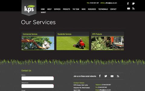 Screenshot of Services Page kps.uk.com - Services - captured Oct. 6, 2014