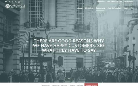 Screenshot of Testimonials Page gochronicle.com - Chronicle Technologies     Success Stories - captured Sept. 27, 2015
