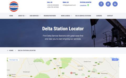 Screenshot of Locations Page galanaoil.com - Delta Station Locator - Galana Oil (K) Limited - captured July 9, 2017