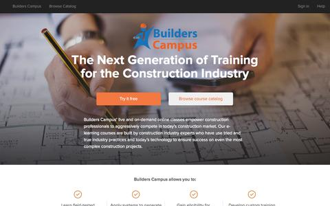 Screenshot of Home Page builderscampus.com - The Next Generation of Training for the Construction Industry - captured Sept. 30, 2014
