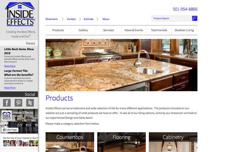 Screenshot of Products Page insideeffects.com - Products | Inside Effects - captured Nov. 26, 2016