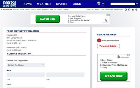Screenshot of Contact Page fox21online.com - FOX21 Contact Information - Fox21Online - captured Oct. 10, 2018