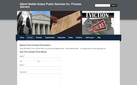 Screenshot of Contact Page weebly.com - Contact - Miami Mobile Notary Public Services Inc. Process Servers - captured Oct. 27, 2014
