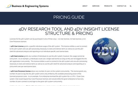 Screenshot of Pricing Page 4dvresearch.com - Pricing - Business & Engineering Systems - captured Nov. 23, 2016