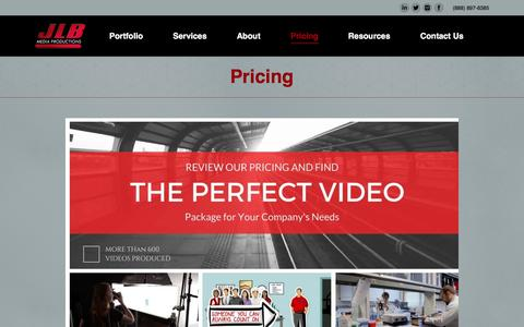 Screenshot of Pricing Page jlbmedia.com - Pricing - JLB Media Productions - captured Nov. 18, 2016