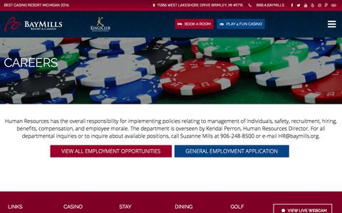 Screenshot of Jobs Page baymillscasinos.com - Careers - Bay Mills Resort & Casinos - captured Feb. 10, 2018