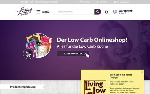 Screenshot of Home Page living-low-carb.de - Dein Low Carb Online Shop für kohlenhydratarme Produkte - captured Jan. 4, 2019