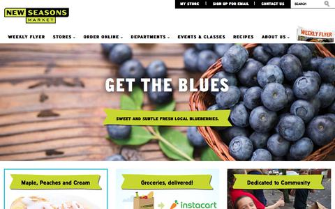 Screenshot of Home Page newseasonsmarket.com - New Seasons Market | Grocery Stores near Portland, Vancouver and Seattle - captured July 12, 2018