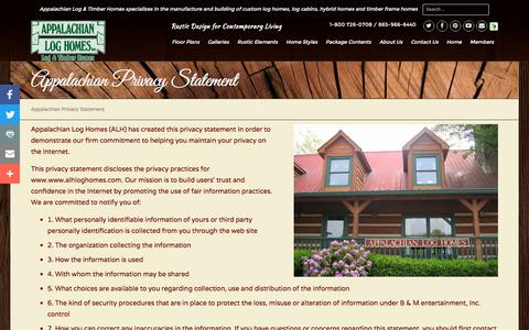 Screenshot of Privacy Page alhloghomes.com - Appalachian Privacy Statement - Appalachian Log & Timber Homes - Rustic Design for Contemporary Living. - captured Nov. 21, 2016