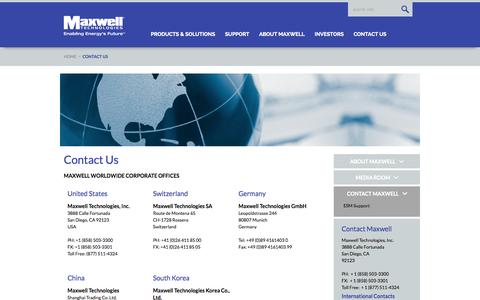 Screenshot of Contact Page maxwell.com - Maxwell Technologies Contact Us - captured Oct. 30, 2014