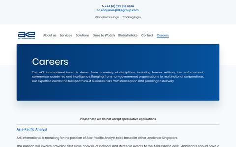 Screenshot of Jobs Page akegroup.com - Careers - AKE International - captured Feb. 21, 2020