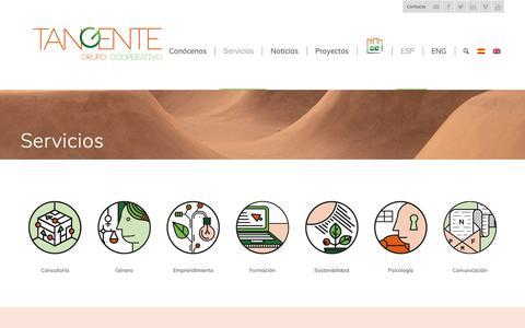 Screenshot of Services Page tangente.coop - Conoce los servicios cooperativos del Grupo Tangente - captured Nov. 16, 2018