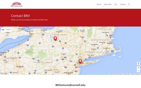 Screenshot of Contact Page brventurefund.com - Contact | BR Venture Fund (BRV) - captured Dec. 28, 2015