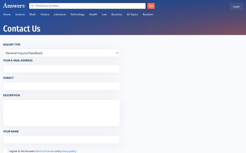 Screenshot of Contact Page answers.com - Answers - The Most Trusted Place for Answering Life's Questions - captured Oct. 13, 2019