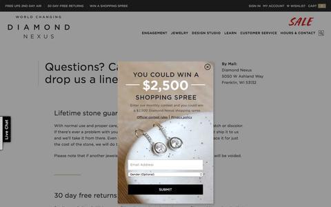 Screenshot of Support Page diamondnexus.com - Customer Service - captured Oct. 12, 2017