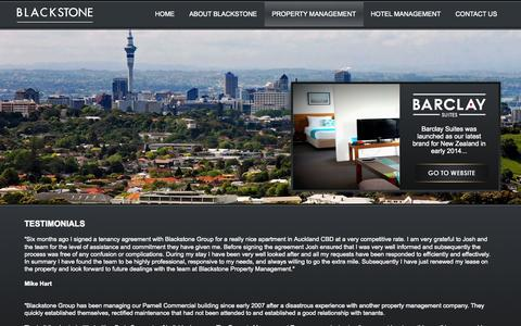 Screenshot of Testimonials Page blackstone.co.nz - BLACKSTONE GROUP | PROPERTY AND HOTEL MANAGEMENT | TESTIMONIALS - captured Nov. 3, 2014