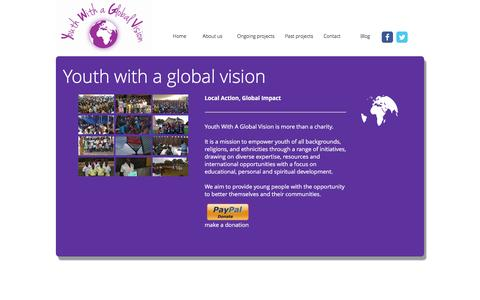 Screenshot of Home Page youthwithaglobalvision.org - Youth with a Global Vision - captured Jan. 10, 2016