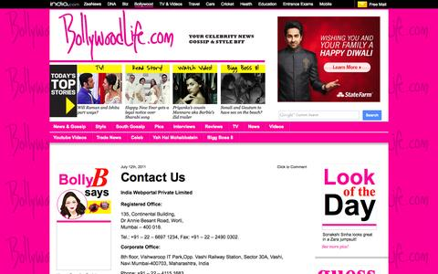 Screenshot of Contact Page bollywoodlife.com - Contact Us – Bollywood News & Gossip, Movie Reviews, Trailers & Videos at Bollywoodlife.com - captured Oct. 30, 2014