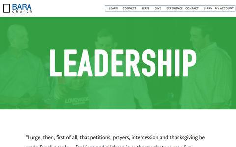 Screenshot of Team Page barachurch.com - Leadership — Bara Church - captured Aug. 1, 2018