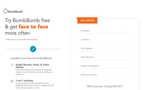 Screenshot of Trial Page bombbomb.com - BombBomb Free Trial | BombBomb.com - BombBomb - captured Oct. 5, 2018