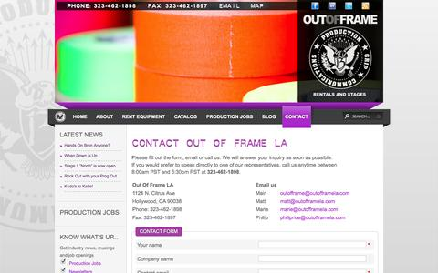 Screenshot of Contact Page Maps & Directions Page outofframela.com - Out Of Frame LA - Contact Out Of Frame LA - captured Oct. 26, 2014