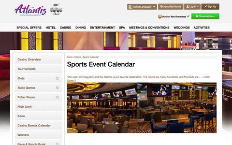 Screenshot of atlantiscasino.com - Atlantis Sports Event Calendar | Reno Sports Betting - captured March 20, 2016