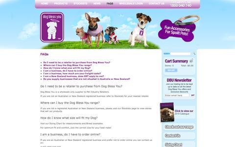 Screenshot of FAQ Page dogblessyou.com.au - Wholesale Dog Clothing - Dog Bless You - captured Sept. 30, 2014