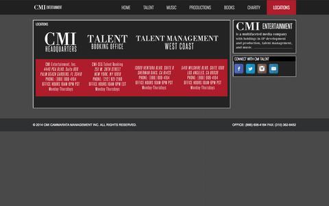 Screenshot of Locations Page cmitalent.com - Locations | CMI Cammarata Management Inc - captured Oct. 1, 2014