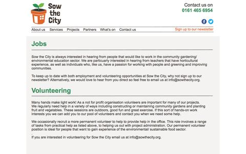 Screenshot of Jobs Page sowthecity.org - Sow the City - captured Aug. 15, 2016