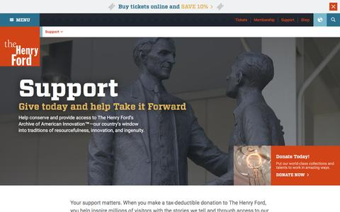 Screenshot of Support Page thehenryford.org - Support - Donate, Donor Societies - The Henry Ford - captured April 16, 2016