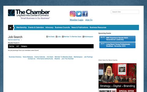 Screenshot of Jobs Page lbchamber.com - Job Search - Long Beach Area Chamber of Commerce, CA - captured Nov. 13, 2016