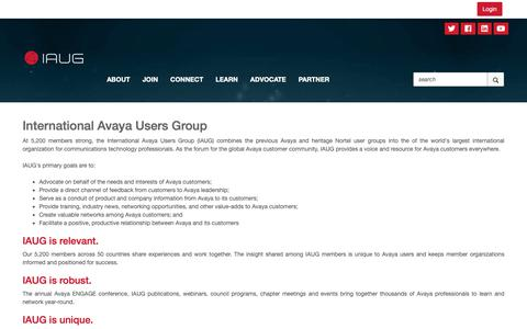 Screenshot of About Page iaug.org - About - International Avaya Users Group - captured Oct. 3, 2018