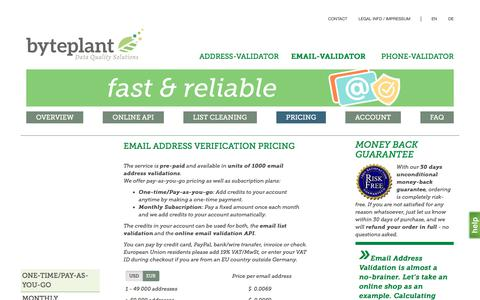 Screenshot of Pricing Page email-validator.net - Email Address Verification Pricing - captured June 24, 2017