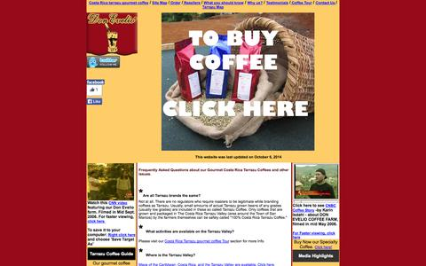 Screenshot of FAQ Page tarrazucafe.com - Frequently Asked Questions about Costa Rica gourmet coffee, coffee roasters and farmers from the gourmet coffee growingvalley of Tarrazu. - captured Oct. 6, 2014