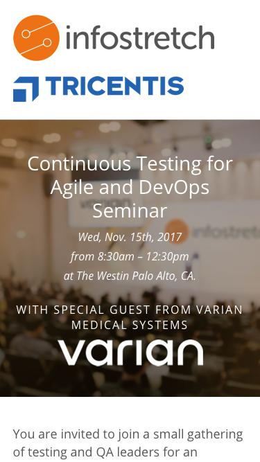 Continuous Testing for Agile and DevOps Seminar - Wednesday 15th November 2017