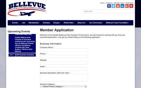 Screenshot of Signup Page bellevuenebraska.com - Member - Greater Bellevue Area Chamber of Commerce, NE - captured Oct. 5, 2018