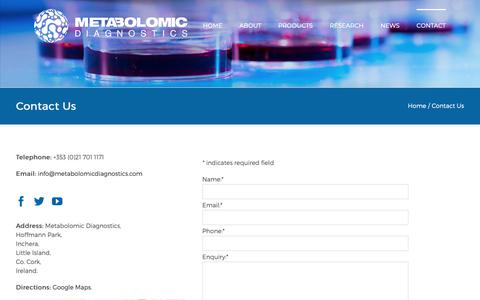 Screenshot of Contact Page metabolomicdiagnostics.com - Contact Us – Metabolomic Diagnostics - captured Oct. 17, 2018