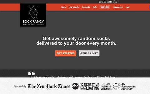 Screenshot of Home Page sockfancy.com - Sock Fancy - Awesomely Random Sock SubscriptionSubscription Service - captured Oct. 9, 2014