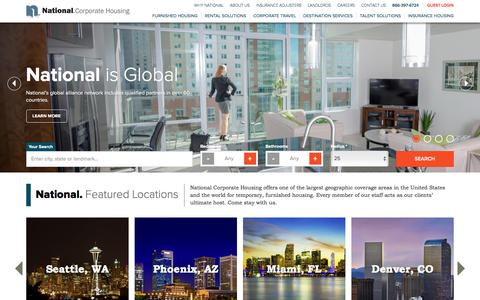 Screenshot of Home Page nationalcorporatehousing.com - National Corporate Housing - Temporary & Short Term Furnished Housing Rentals - captured March 16, 2016