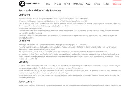 Screenshot of Terms Page markramsdale.com - Our Terms and Conditions - captured Sept. 26, 2014
