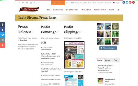 Screenshot of Press Page tastenirvana.com - Taste Nirvana Press Room - Taste Nirvana - Best Coconut Water Brand and Thai Products - captured Aug. 22, 2016